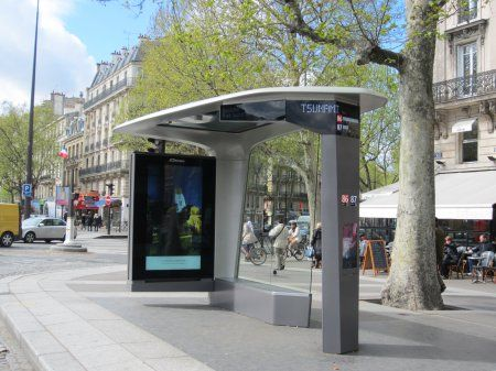 Hey, Big Blue, Check Out This Bus Stop: Escale Numérique Intelligent Street  Furniture Is All Green And Natural. Almost As Little Seating As Yours, U2026