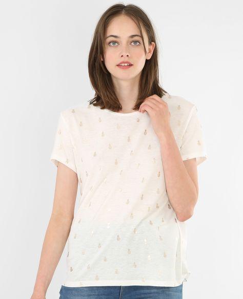 T-shirt ananas blanc cassé