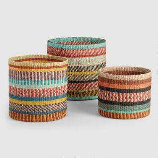 Multicolor Abaca Stripe Zaria Baskets Colorful Baskets Basket Weaving Basket