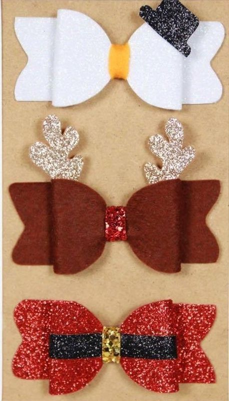 """Large GLITTER Holly Double Bow Hair Clip 4/"""" free 1st class post xmas, party"""