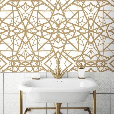 Roommates Shatter Geometric Peel Stick Wallpaper White Gold Peel And Stick Wallpaper Room Visualizer Wall Coverings