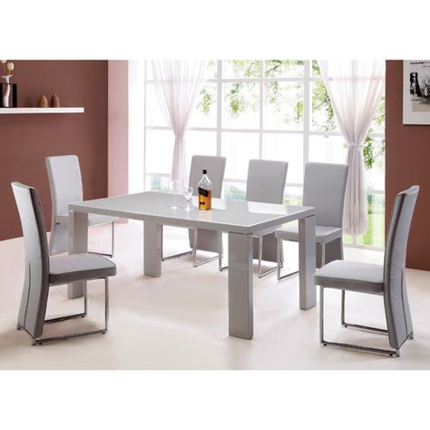 Giovanni High Gloss Grey Dining Table And  Light Grey Chairs