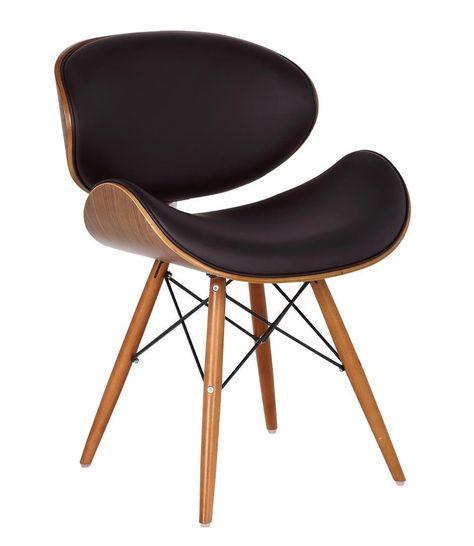 Chaise De Bureau Style Eames Dsw Simili Cuir Marron Pieds En
