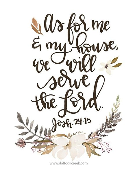 As for Me and My House - Handlettered Bible Verse Print - 8x8