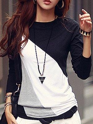 Autumn Spring Cotton Blend Women Round Neck Color Block Long Sleeve Long Sleeve T-Shirts - berrylook.com