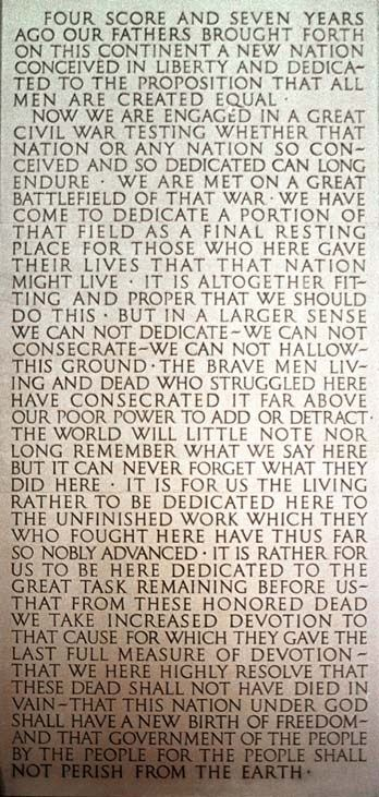 Gettysburg Address, etched into the wall of the Lincoln Memorial in Washington DC. This awesome speech American Presidents, American Civil War, American History, History Facts, World History, Washington Dc, Lincoln Memorial, Historical Quotes, Thats The Way