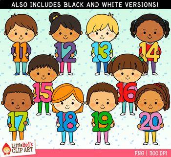 Number Kids 11 20 Clip Art Clip Art Art Bundle Art