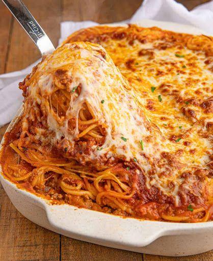 Baked Spaghetti Recipe Yummly Recipe In 2020 Baked Spaghetti Cheesy Baked Spaghetti Chops Recipe