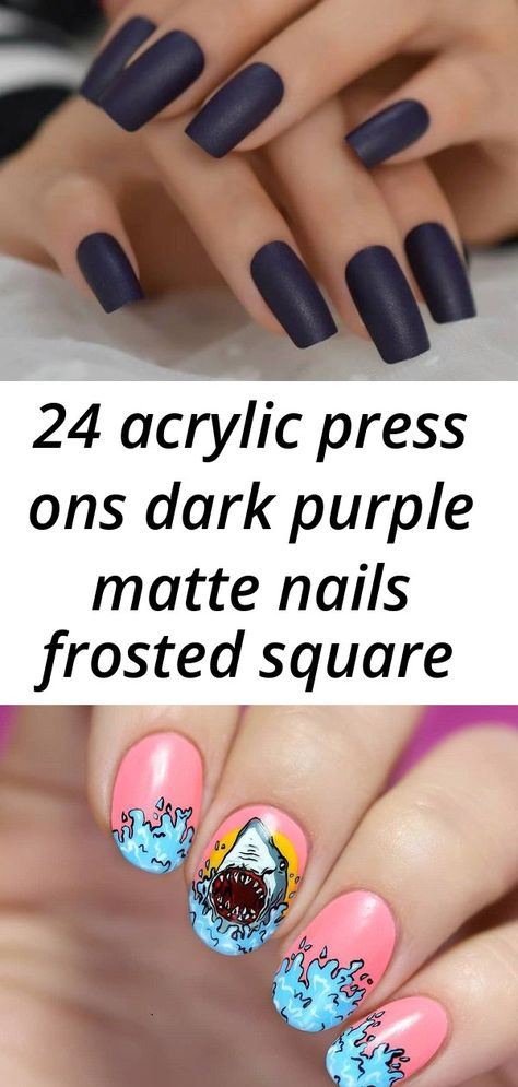 24 acrylic press ons dark purple matte nails frosted square press ons goth nails fake acrylic