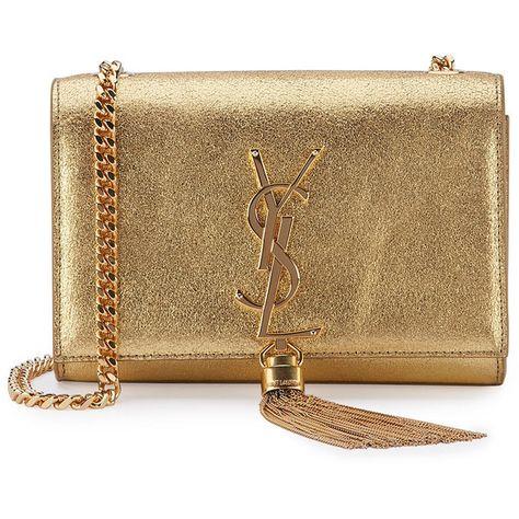 c86d954b732 Saint Laurent Monogram Small Kate Metallic Tassel Crossbody Bag ($1,990) ❤  liked on Polyvore featuring bags, handbags, shoulder bags, gold, metallic  ...