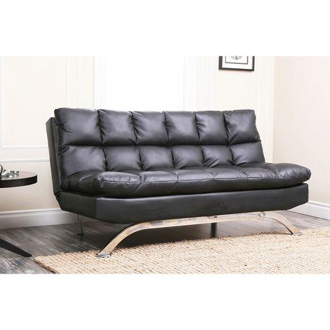 Abbyson Vienna Bonded Leather Euro Futon Sofa | Leather sofa