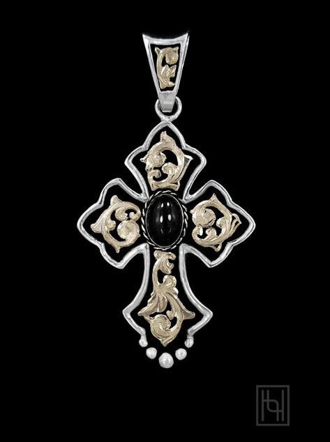Mens Ladies 10k Yellow Gold Budded Cross Post Religious Earring 16mm x 11mm