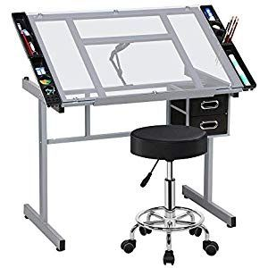 YAHEETECH Drawing Tables Art//Craft Desk Home Office Computer Desk with Stool Drafting Table Drawing//Draft Table//Desk with 3 Storage Drawers Art Studio Design Work Station