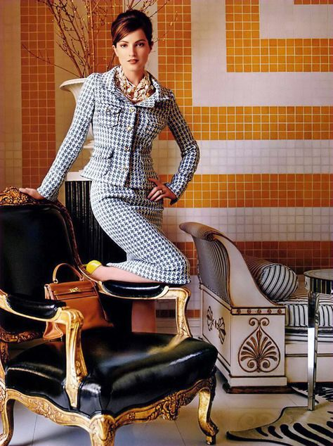 Houndstooth Skirt Suit and Yellow High Heels