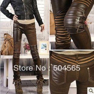 e08034c5f99 Women  PU Leather Patchwork Jeans Pants Fashion Zippers Boots Trousers  Pencil Pants Plus Size PT-023 Brown Black US  23.99