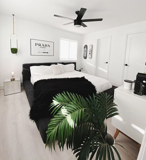 Our Black & White Gender Neutral Master Bedroom Black Bedroom Decor, Black White Bedrooms, White Room Decor, Room Ideas Bedroom, Home Decor Bedroom, Bedroom Inspo, Black Bed Room Ideas, Ikea Bedroom White, Bedroom Apartment