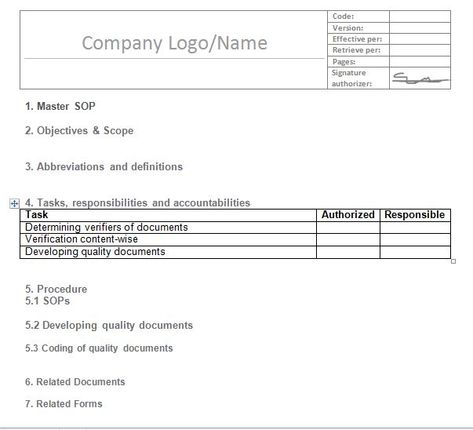 SOP Templates 06 SOP Pinterest Standard operating procedure - microsoft word standard operating procedure template