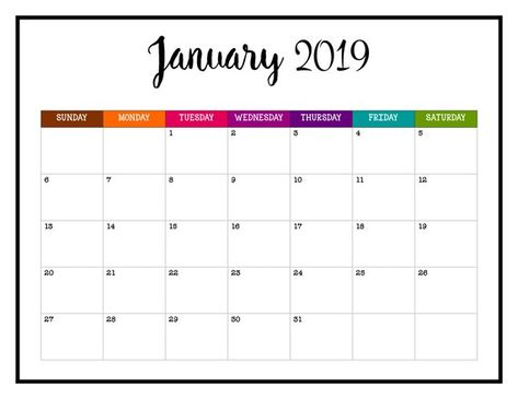 2019 Printable Calendar 2019 Wall Calendar Pages Crazy Colorful
