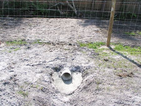 Yard Drainage Swale - PVC Drain Pipe   A 6-inch PVC drain pipe was