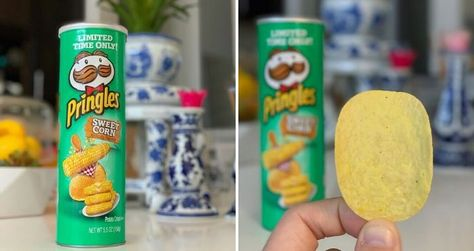 The new Pringles Sweet Corn Flavor comes packed with the sweet and salty flavors of freshly cooked corn slathered with butter in every chip.