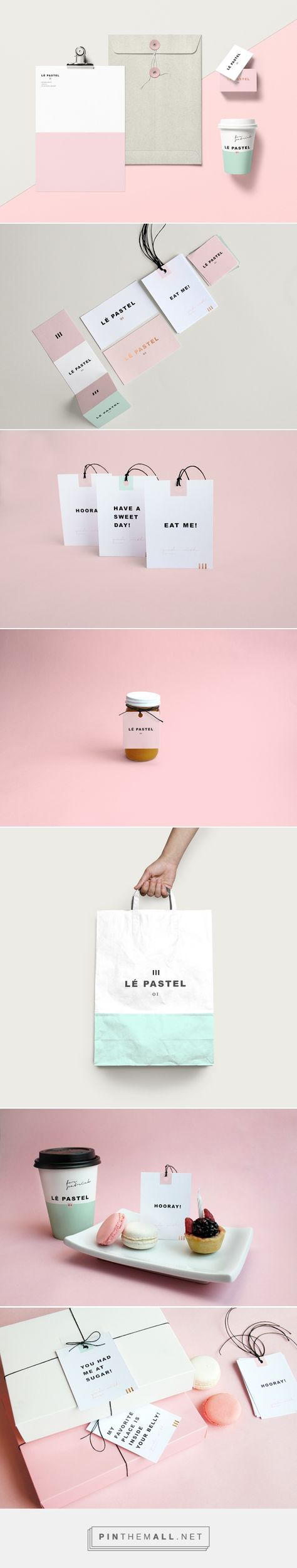 Lé Pastel on Behance curated by Packaging Diva PD. A high-end pastry shop with a variety of delicious desserts. Shop's new identity was designed with one objective, to express quality within the whole brand and each of its touch points. Art direction, packaging, branding, graphic design.