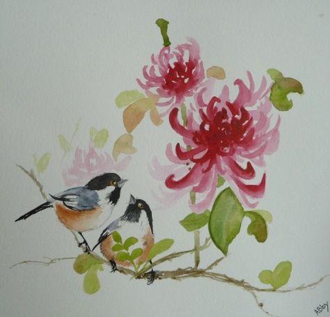 Aquarelle Peinture Chinoise Oiseaux Nature Abby Watercolor