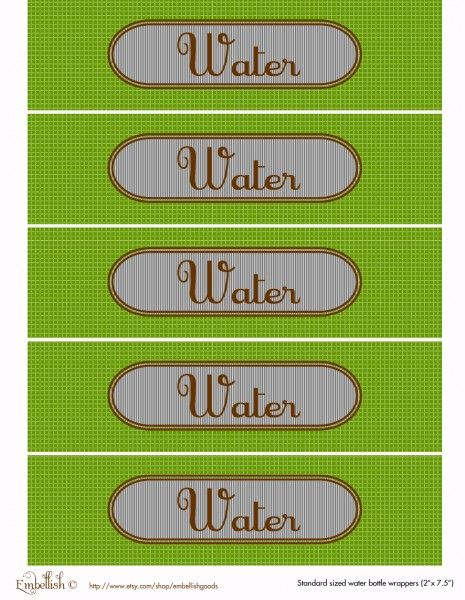 free party printables water bottle labels