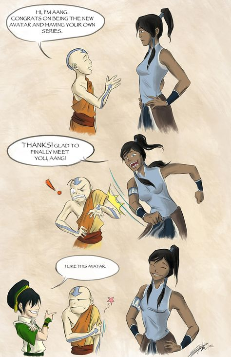 Aang Meets Korra by rice-claire on DeviantArt