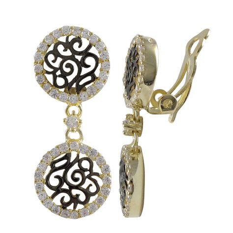 6131cc64c Luxiro Sterling Silver Two-tone Cubic Zirconia Filigree Clip-on Earrings