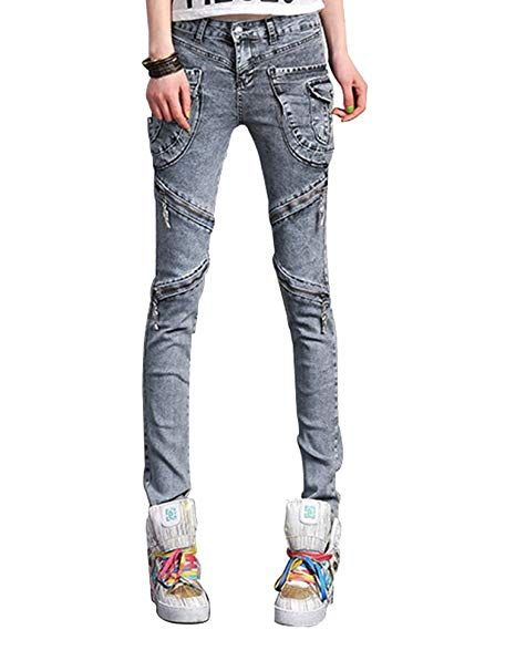 2ba934db6 Idopy Women`s Punk Motorcycle Cargo Harem Pants Jeans with Zippers ...