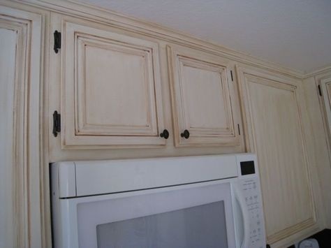 antique white cabinets with chocolate glazing   Antique ...