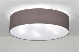 Deckenleuchte 71392: modern, Metall, Stoff, grau, rund ...