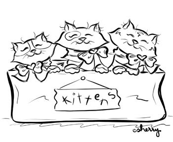 Three Little Kittens Coloring Page Writing Prompt Clip Art