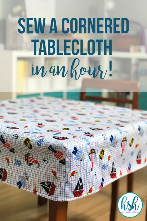 If you can sew even a simple straight line, then you can definitely make this DIY cornered tablecloth tutorial - an easy project in under an hour! Sewing Hacks, Sewing Tutorials, Sewing Crafts, Sewing Tips, Fabric Crafts, Dress Tutorials, Easy Arts And Crafts, Fun Crafts, Sewing Projects For Beginners