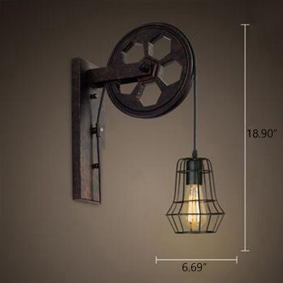 Industrial Wall Sconce With Hanging Cord And Metal Cage Black Beautifulhalo Com Industrial Wall Sconce Sconce Lighting Industrial Wall Lamp