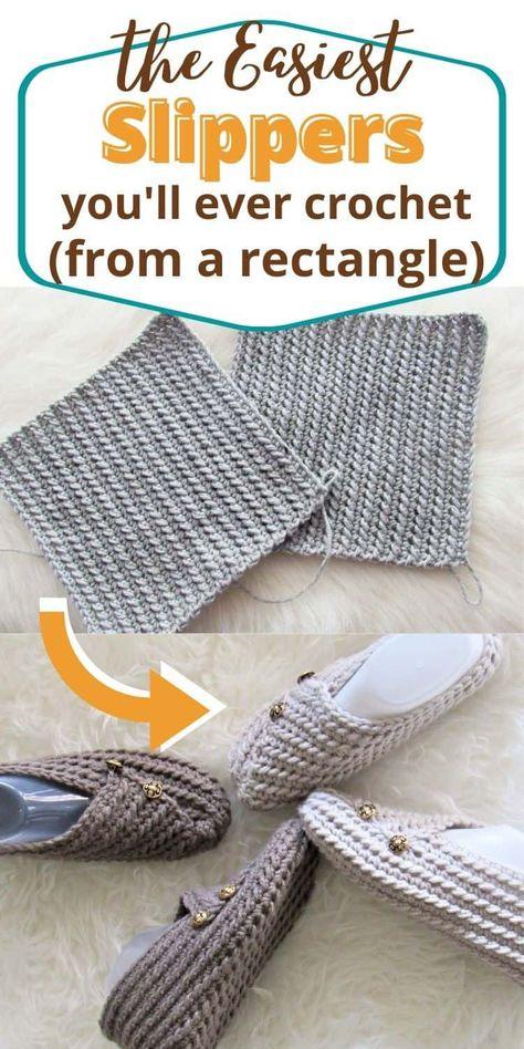 Knitting For Beginners, Start Knitting, Easy Knitting, Diy Knitting Ideas, Crochet Projects For Beginners, Easy Crochet Projects, Easy Crochet Slippers, Crochet Slipper Boots, Slipper Socks