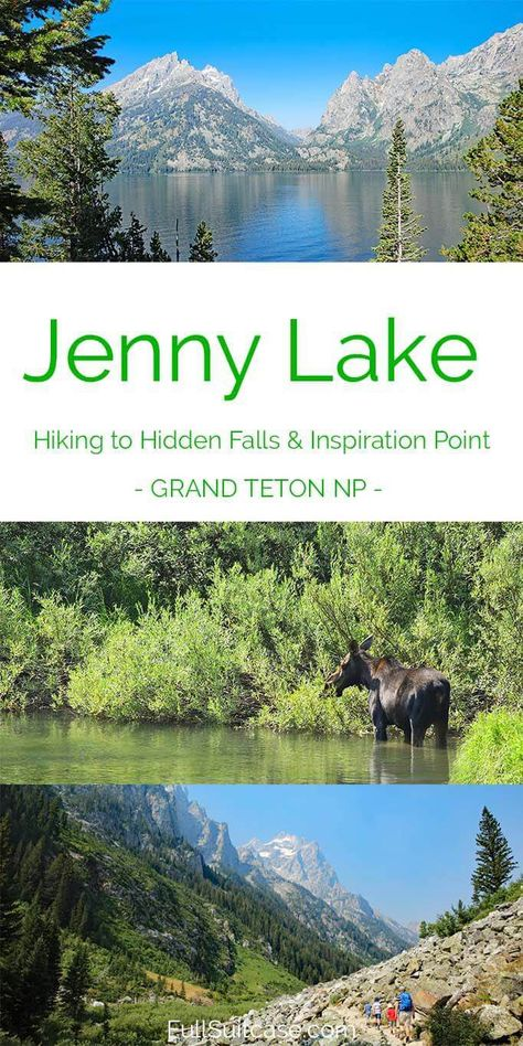 One Day in Grand Teton National Park – Jenny Lake Boat and Hike Jenny Lake and hiking to Hidden Falls, Inspiration Point and Cascade Canyon - best day trip Grand Teton NP Us National Parks, Grand Teton National Park, Yellowstone National Park, Wyoming Vacation, Yellowstone Vacation, Tennessee Vacation, Wyoming Camping, Ecuador, Grand Canyon