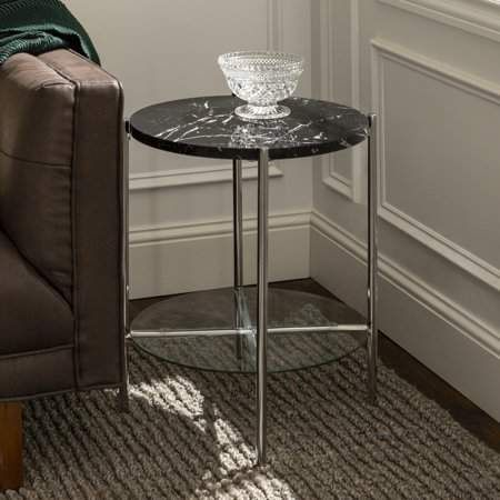 Lola Faux Black Marble End Table By Bellamy Studios Walmart Com Marble Side Table Round Marble End Tables Glass Shelves