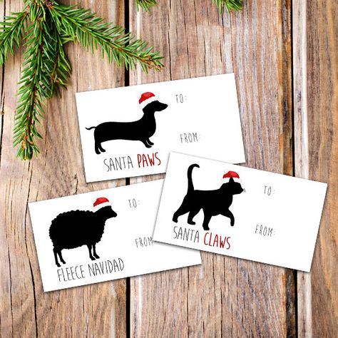 Digital Printable Gift Tags Set of 3 Designs Animals Merry. Christmas gift tags