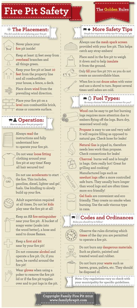 Guide to Backyard Fire Pit #Safety Guidelines Infographic. Don't Burn yourself, #learn how to use a fire pit safely!