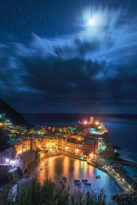 Starry Vernazza Night Vernazza Cinque Terre by TheWorldExplored
