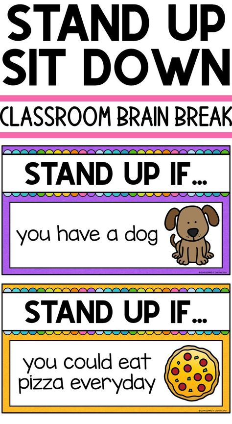 Classroom Brain Break Quick brain break game Stand Up Sit Down First Grade Classroom, Classroom Behavior, Preschool Classroom, Music Classroom, Classroom Ideas, Fun Classroom Activities, Music Teachers, Future Classroom, Classroom Organization