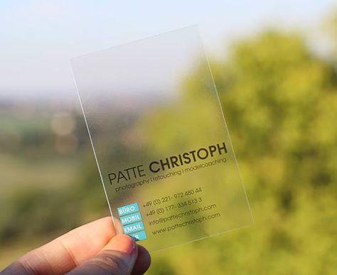 Visitenkarten Transparent Kristallklar Plastik