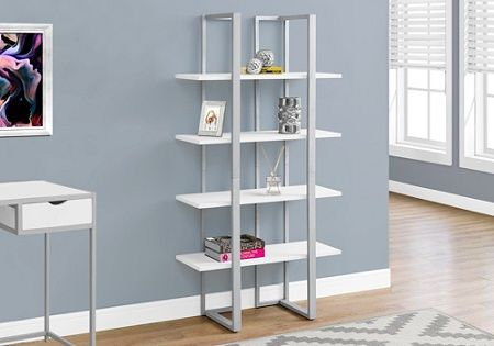 Monarch Specialties 4 Shelf Metal Bookcase Whitesilver By Office Depot Officemax Metal Bookcase Etagere Bookcase Open Shelving