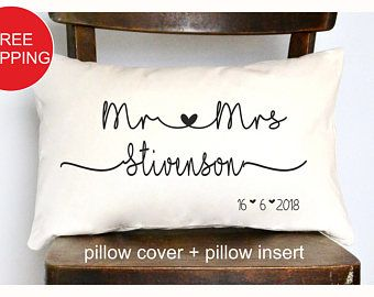 Mr Mrs Personalized Pillow Wedding Gift Anniversary Gift Pillow Newlywed Gift Engagement Gift Bridal Show Newlywed Gifts Engagement Gifts Wedding Pillows
