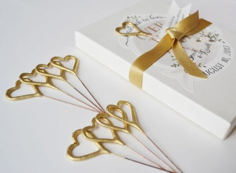 Custom Gold Sparkler Bo For Your Wedding Heart Shaped Sparklers And