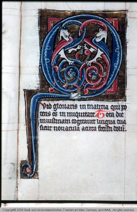 """Two dragons forming an initial """"Q"""". From the University Library, Frankfurt, Germany, Ms. germ. oct. 51 :: HMML Color Microfilms"""