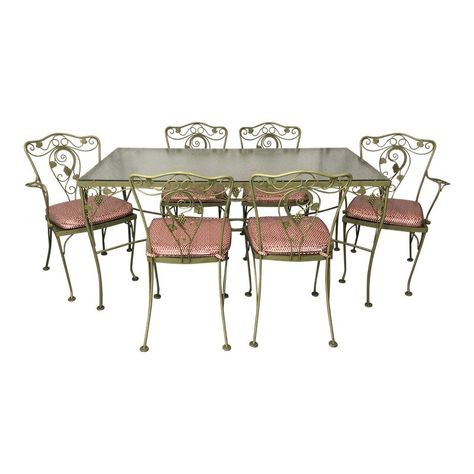 Vintage Woodard Style Wrought Iron Patio Table And Chairs Set Of