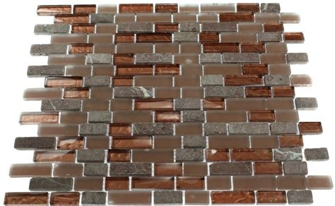 Copper+Colored+Tiles | BRICK PATTERN COPPER CLAY BLEND 1/2X2 MARBLE & GLASS TILE BRICK_1