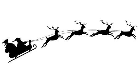 Silhouette Of Santa Claus Riding In A Sleigh With Reindeer Santa Sleigh Silhouette Reindeer Silhouette Reindeer Drawing
